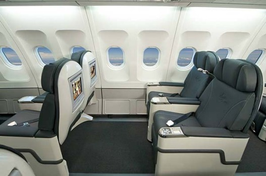 Virgin Blue's widebody Airbus A330 aircraft will feature business class seats and fly between Sydney and Perth, with ...