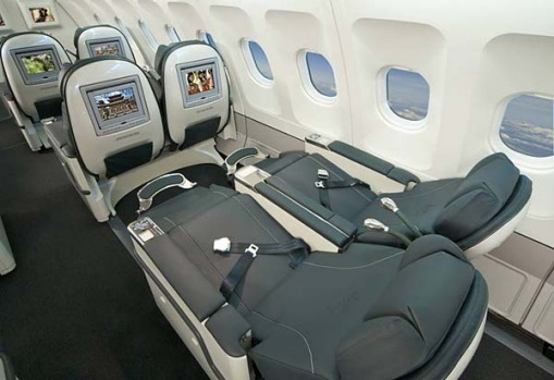 Virgin Blue's widebody Airbus A330 aircraft features business class seats and flies between Sydney and Perth.