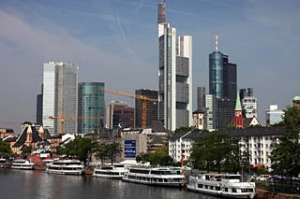View taken on July 2, 2010 shows the skyline of Frankfurt,  Germany with its bank towers.