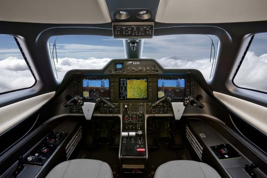 Flight deck of the the Embraer Phenom 100.