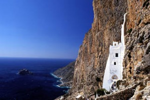 Guide guru … Nigel McGilchrist makes notes; the monastery of Panaghia Chozoviotissa on Amorgos, one of his ...