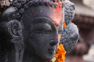 a statue of Buddha at the Janabahal temple. Photos: