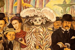 Larger than life ... detail of Diego Rivera's A Dream of a Sunday Afternoon in Alameda Park, featuring the artist and ...