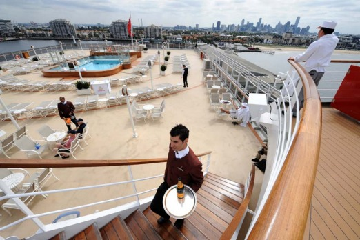 The lido deck of the Queen Elizabeth.