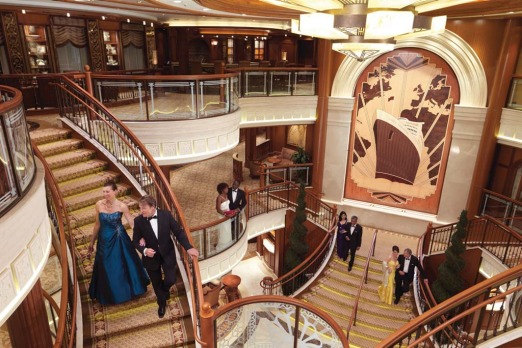 On her majesty's service ... a sweeping art deco stairway on board the Queen Elizabeth.