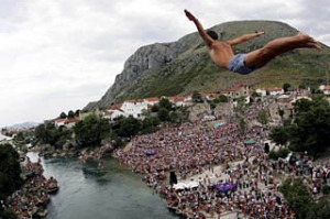 Beauty spots ... the bridge diving competition off the Stari Most in Mostar.