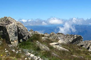 TRA 12 MAR. Mt Kosciuszko. The view from the path winding around the crest up to the summit. CREDIT KATRINA LOBLEY.