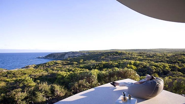 33. Southern Ocean Lodge.  Kangaroo Island, Australia. The lobby's wraparound screen of floor-to-ceiling glass shows off ...