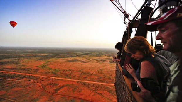 Hot air and red dust ... ballooning over the Red Centre.