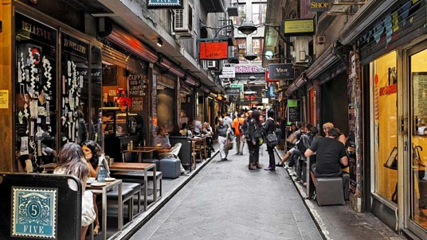 Artful ... the scene on Flinders Lane.