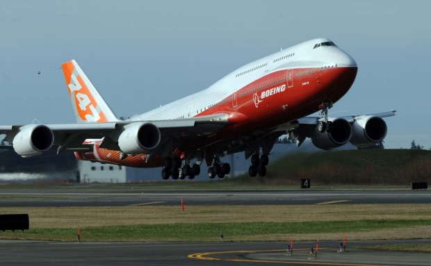 The 747-8 Intercontinental, Boeing's largest-ever passenger airplane, takes off for the first time in 2011.