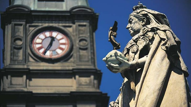 Grand heritage ... Queen Victoria watches over Ballarat Town Hall.