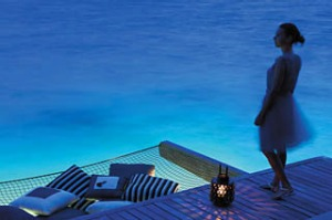 Blue day ... Shangri-La's Villingili resort on one Addu Atoll's four islands.