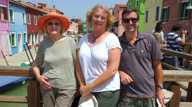 Happy trio ... the writer with her mother and husband at Burano.