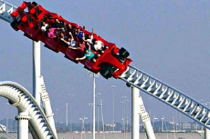 Red means go ... the Formula Rossa reaches speeds of 240km/h.