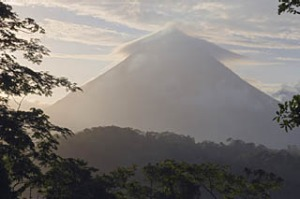 Seething sight ... the cone-shaped Mount Arenal volcano in north-western Costa Rica