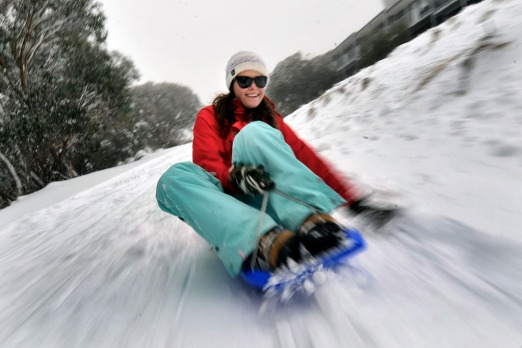 Keira McDonagh tests out the village toboggan slope at Mt Buller weeks before the official opening of the ski season on ...