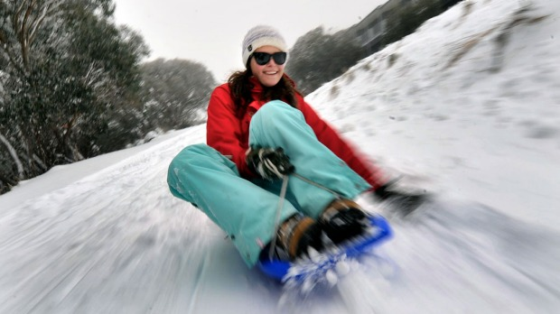 Keira McDonagh tests out the village toboggan slope at Mt Buller weeks before the official opening of the ski season on the Queen's Birthday long weekend.