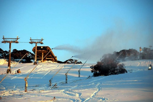 Snowguns in action at Perisher this morning.