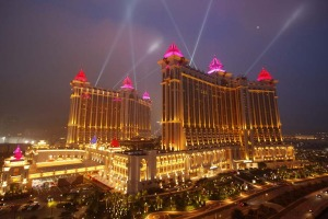 Designed as an Asian-style palace, the 550,000 square metre Galaxy Macau is the third casino to open on the developing Cotai strip, the Macau version of the Vegas strip.