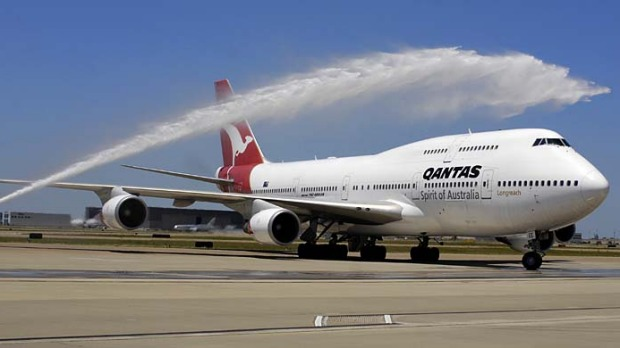 The first Qantas flight from Sydney to Dallas arrives at Dallas Fort Worth International Airport in Grapevine, Texas ...