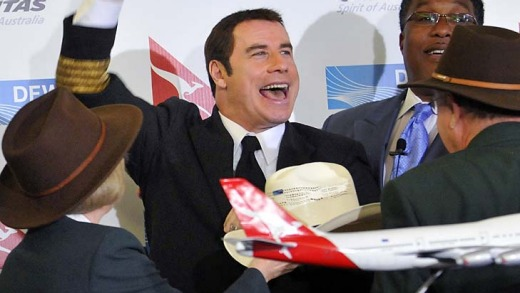 Got chills ... 'Aussie' John Travolta was on hand to welcome the first passengers to fly the Sydney-Dallas route.