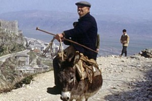 Man on donkey, Gjirokaster, Albania.