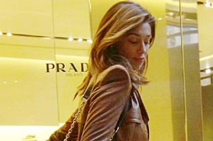 Actress and TV Personality Belen Rodriguez carries a paper bag in Via della Spiga on January 20, 2011 in Milan,