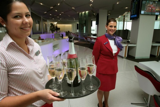 Staff at Virgin Australia's new airport lounge at Tullamarine, which opened this week.