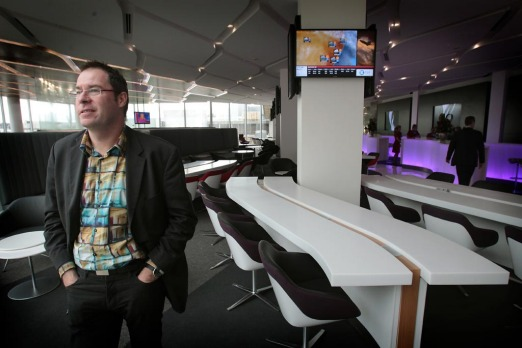 Architect Tim Greer at Virgin Australia's new lounge at Tullaramine Airport, Melbourne.