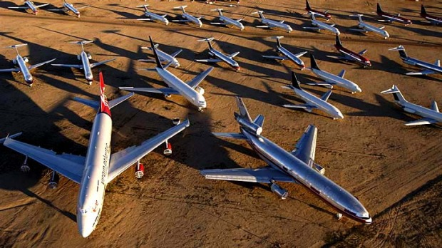 An aircraft 'boneyard' for the storing of decommissioned aircraft will be created near Alice Springs. Pictured: a ...
