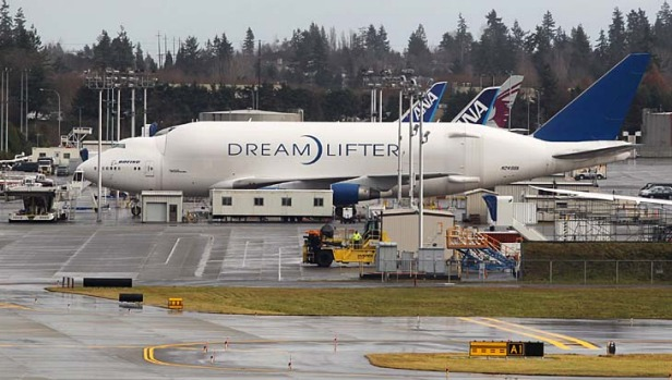 The Dreamlifter is a drastically modified 747 cargo jet designed to deliver parts of the 787 Dreamliner.