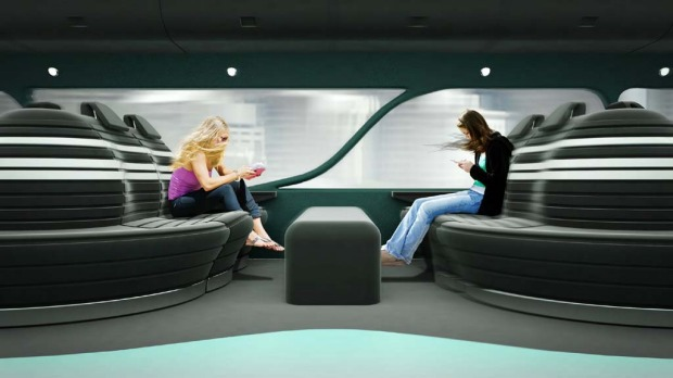 The double-decker train would offer modern, spacious, open plan commuter seating.