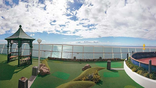 The 9-hole miniature golf course on board.