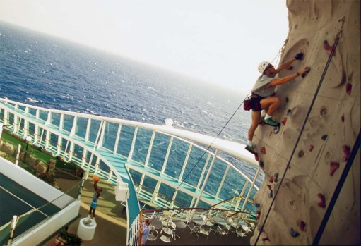 A climbing wall on board.