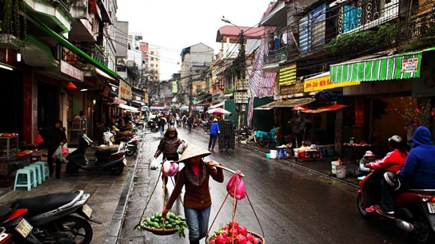 Morning business ... street life in Hanoi's Old Quarter.