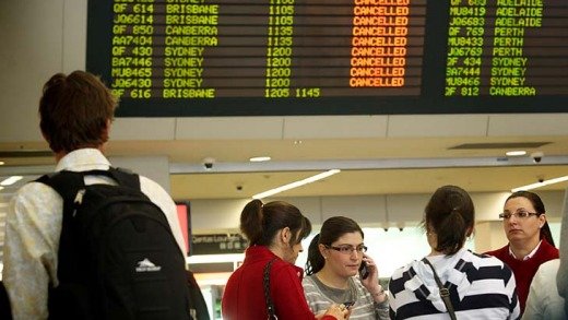 Passengers stranded at Melbourne Airport.