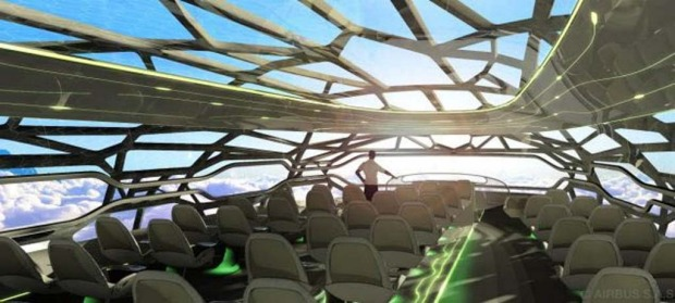 The aircraft's bone-like structure would allow for panoramic views.