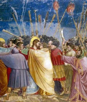 The Betrayal of Christ by Judas in the Scrovegni chapel.