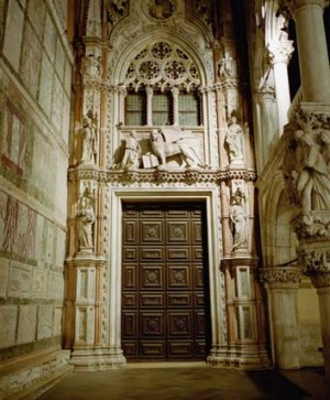 The Doge's Palace entry by night.