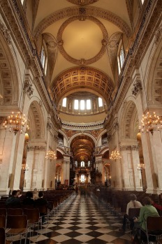 The arches and ceiling of the newly restored St Paul's Cathedral.