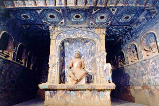 Inside a temple grotto in the Mogao Caves. Photo: Dunhuang Academy.