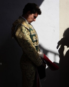 Mexican bullfighter Arturo Saldivar waits for the start of the first bullfight of the San Fermin festival in Pamplona.