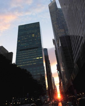 The latest semiannual occurrence was a half-sun Manhattanhenge, in which the setting sun aligns east-west with the ...