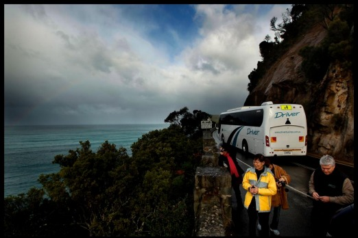 Taking in the sights of the Great Ocean Road from the comfort of the tour bus.
