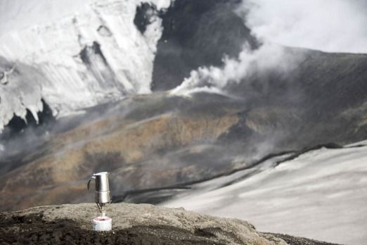 A coffee maker atop the Eyjafjoell volcano.