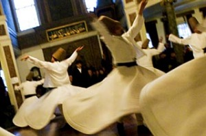Whirling Dervishes at Mevlevi Monastery, Beyoglu, Istanbul, Turkey.