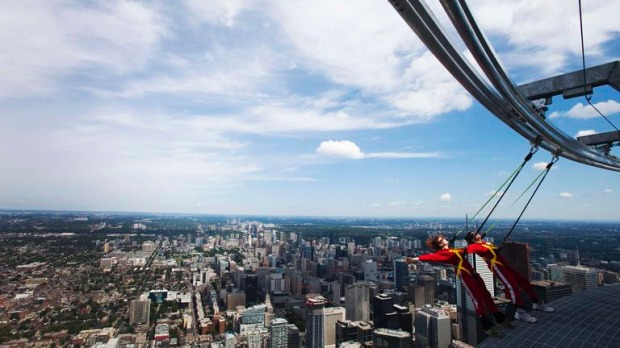 The $3.4 million EdgeWalk is an adrenaline filled excursion around an open-mesh metal walkway almost a quarter of a mile above the ground.
