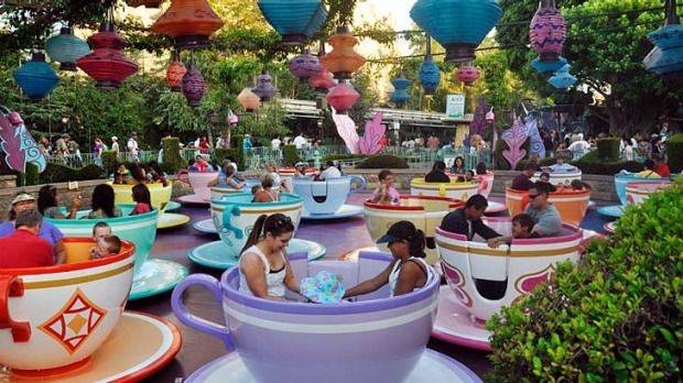 In a spin ... the teacup ride at Disneyland.