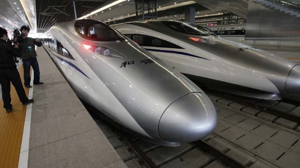 Bullet trains on a high-speed rail line in China.